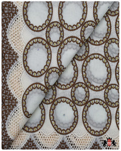 SVL088 - Swiss Voile Lace - Cream & Brown & Gold