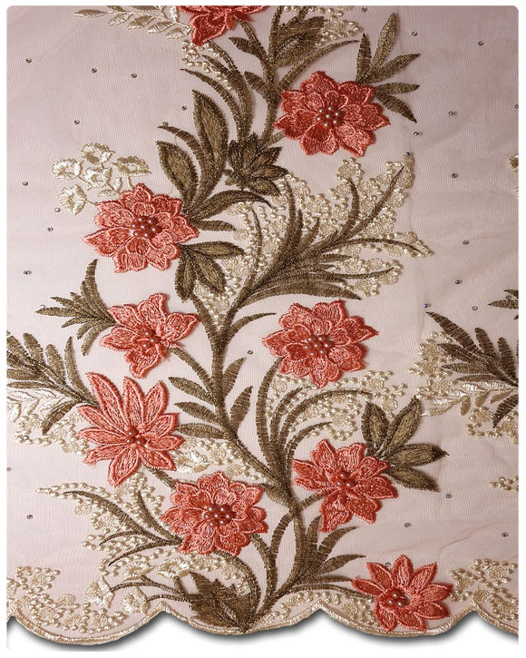 FRN007 - French Lace - Peach & Gold