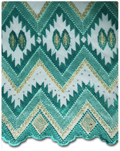 FRN019 - French Lace - Teal & Gold