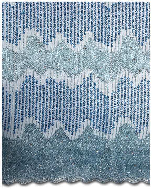 FRN041 - French Lace - Turquoise & Sky Blue