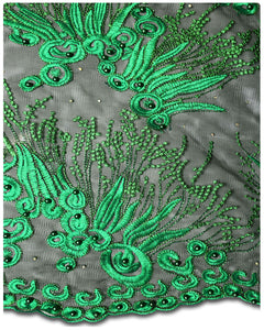 FRN009 - French Lace - Black & Teal Green