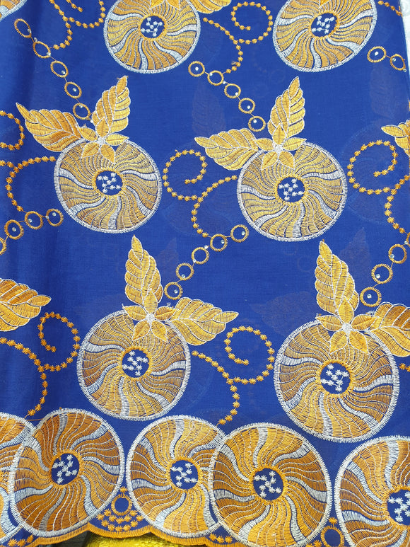 CTV17 - Cotton Voile - Blue - Gold