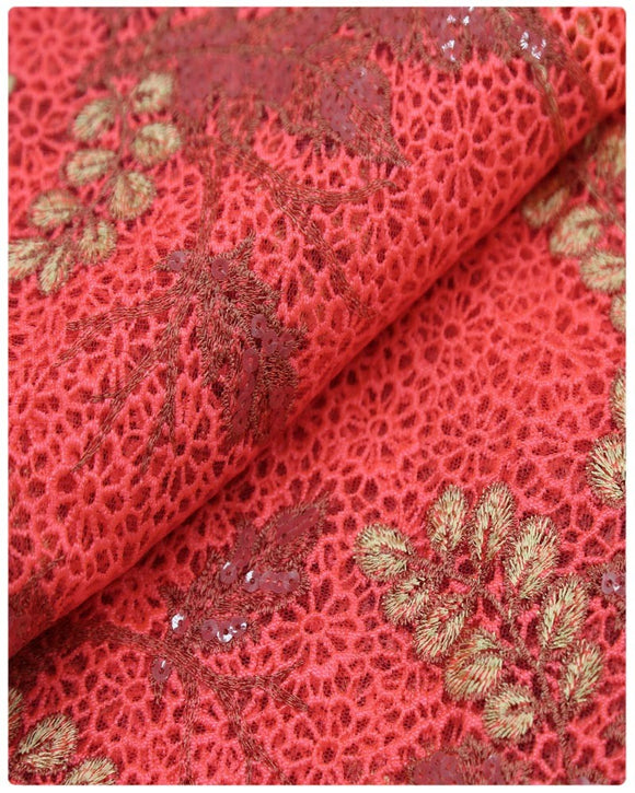EFRN-141  Exclusive French Lace Peach&Gold