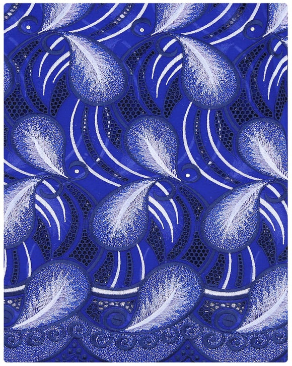 SVL070 - Swiss Voile Lace -Royal Blue & Silver