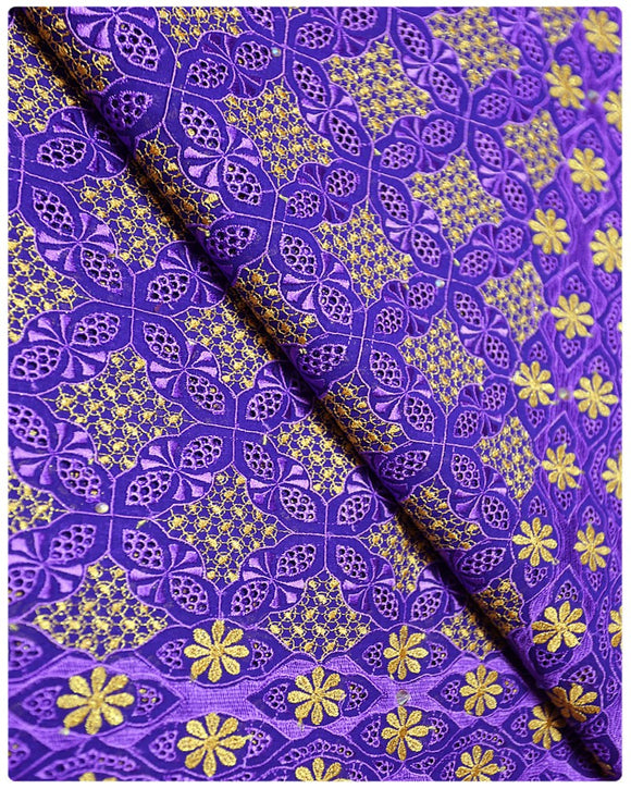 SVL001 - Swiss Voile Lace - Purple & Yellow