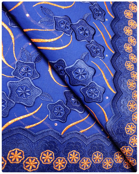 SVL006 - Swiss Voile Lace - Royal blue & Orange
