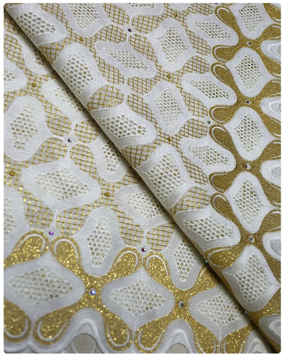 SVL007 - Swiss Voile Lace - White & Gold