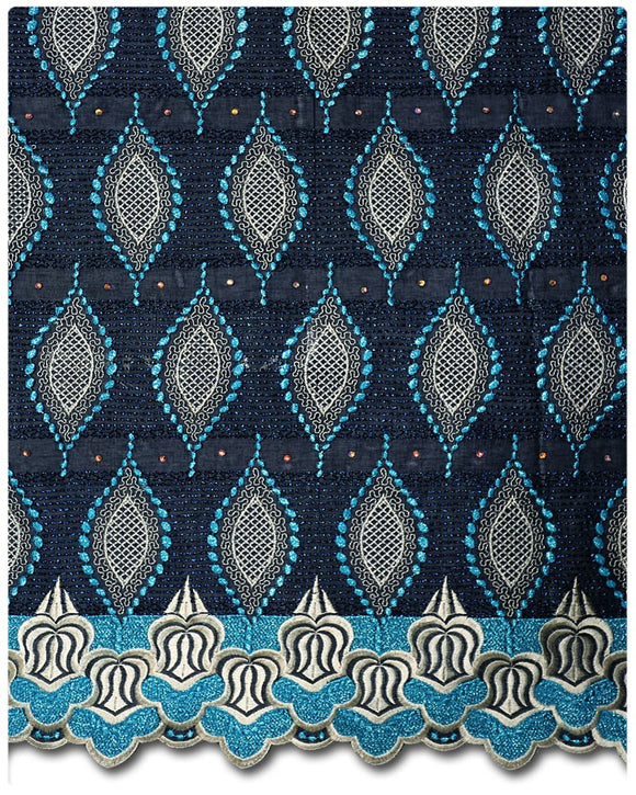 SVL010 - Swiss Voile Lace - Midnight Blue & Turqouise