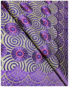 SVL011 - Swiss Voile Lace - Purple & Gold