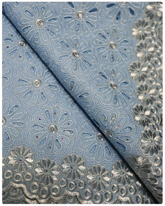 SVL028 - Swiss Voile Lace - Sky Blue & Silver