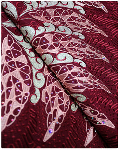 SVL031 - Swiss Voile Lace - Wine & Gold