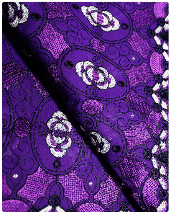 SVL036 - Swiss Voile Lace - Purple & Silver