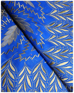 SVL038 - Swiss Voile Lace - Electric Blue & Gold