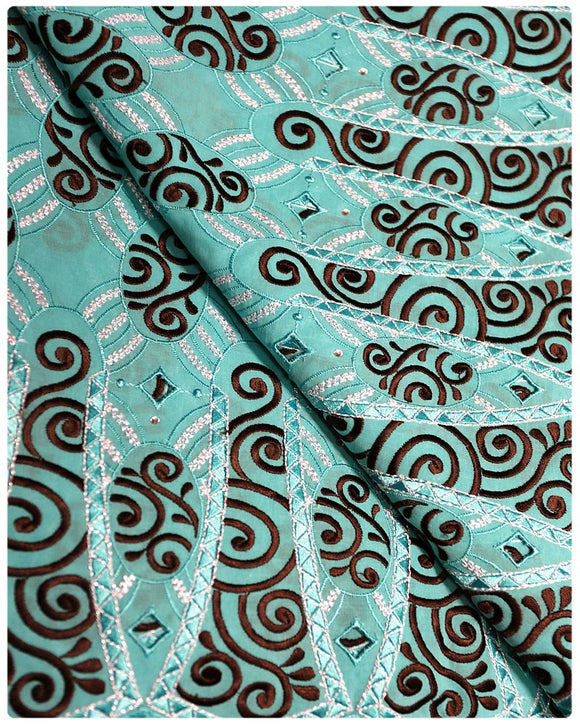 SVL040 - Swiss Voile Lace - Turquoise & Chocolate
