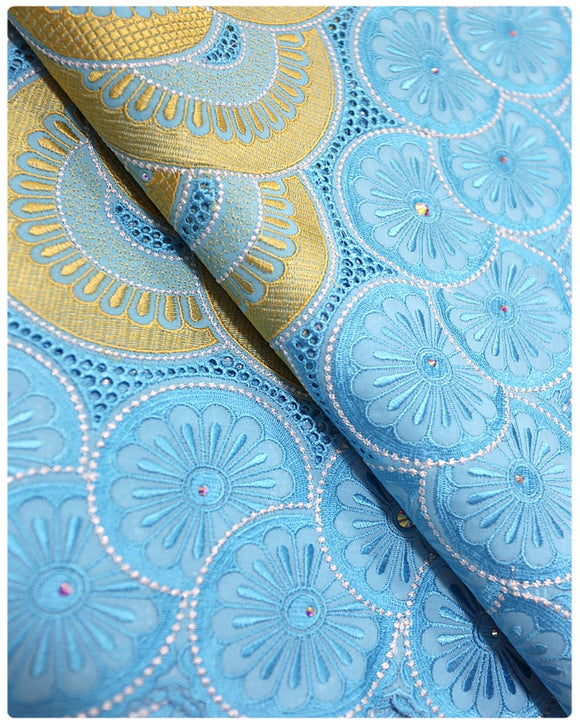 SVL026 - Swiss Voile Lace - Sky Blue & Gold