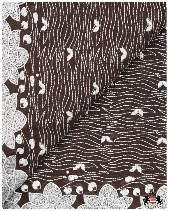 SVL091 - Swiss Voile Lace -Brown & Silver