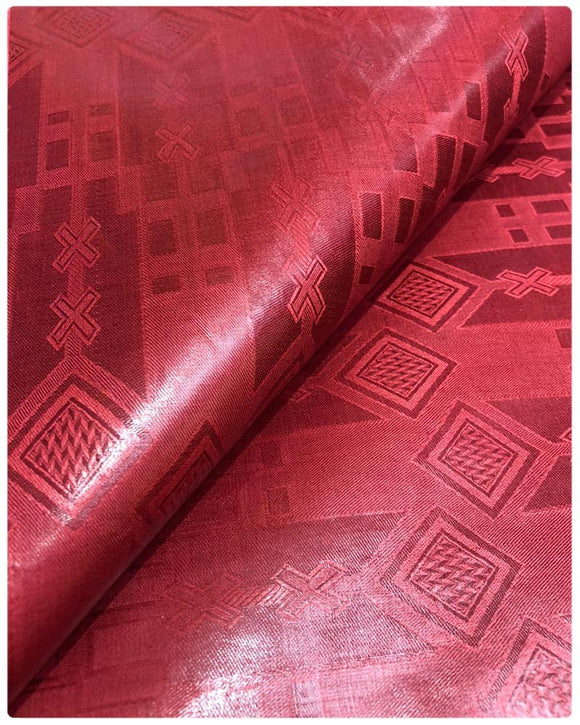 BZN10- Bazin Brocade - Red