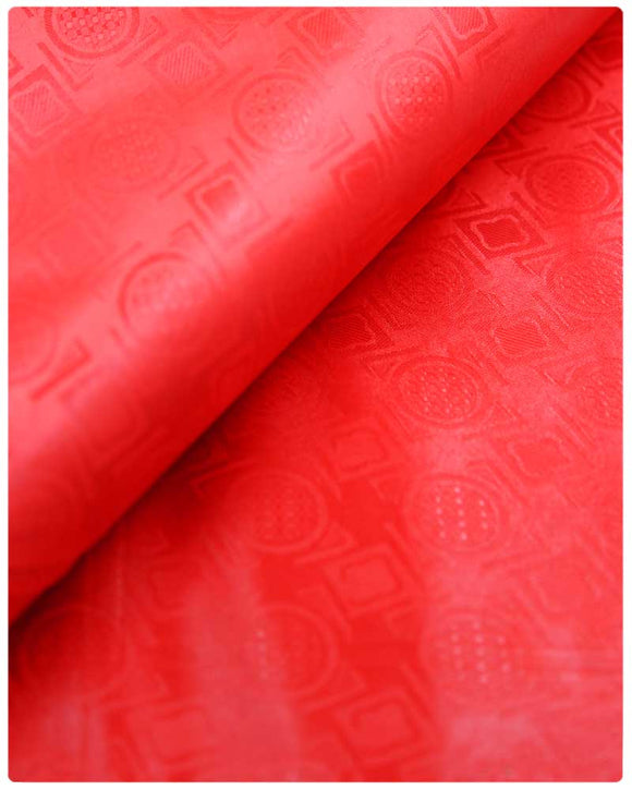 BZN25- Bazin Brocade - Red