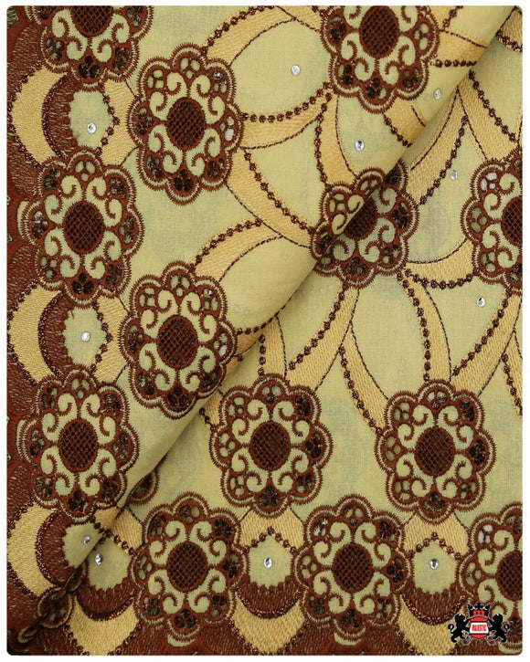 SVL0101 - Swiss Voile Lace - Pastel Yellow & Coffee Brown