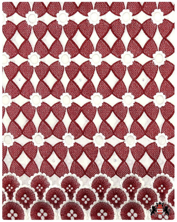 SVL094 - Swiss Voile Lace - Cream & Burgundy