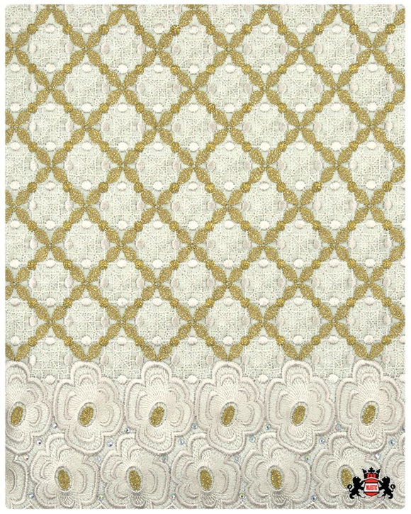 SVL083 - Swiss Voile Lace - Cream & Gold