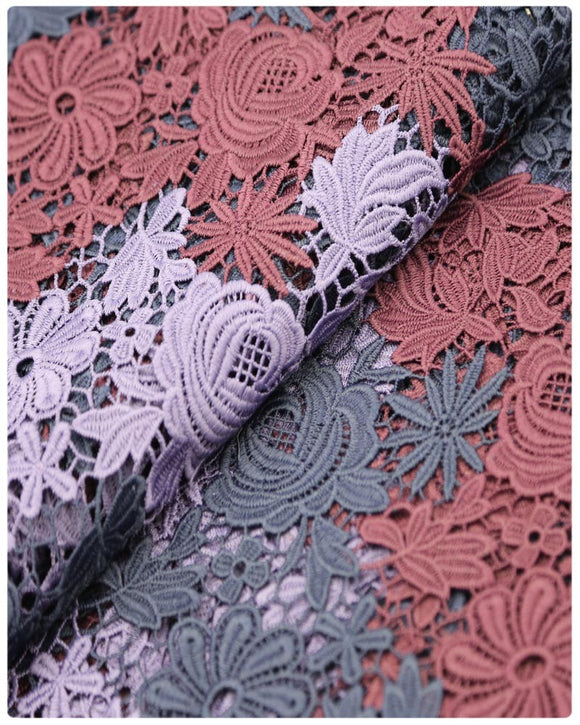 GPR017 - Guipure Lace - Burgundy & Lavender & Navy Blue