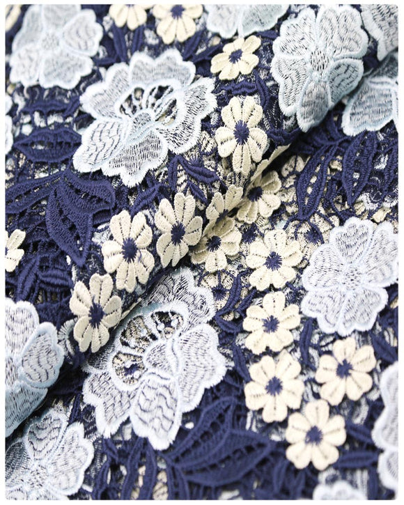 GPR016 - Guipure Lace - Cream & Navy Blue & Sky Blue