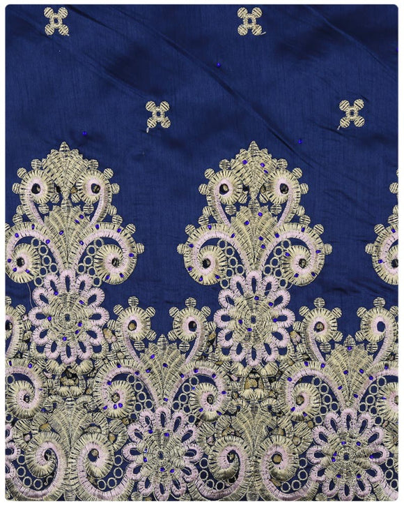 GEO003 - George Lace with Blouse - Navy Blue & Gold