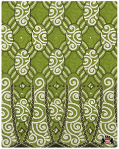 SVL040 - Swiss Voile Lace - Olive Green & Cream