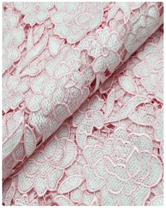 GPR012 - Guipure Lace - White & Baby Pink