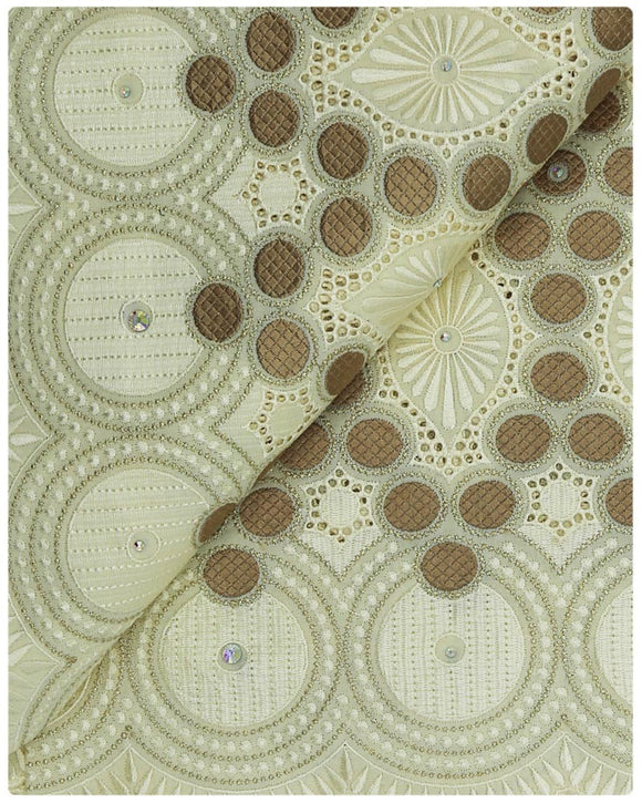 SVL057 - Swiss Voile Lace - Champagne &  Light Brown
