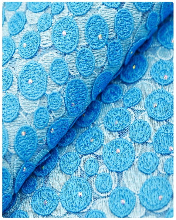 EFRN-144 EXCLUSIVE FRENCH LACE -Turquoise & Sky Blue