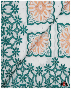 SVL098 - Swiss Voile Lace - White & Emerald Green & Peach