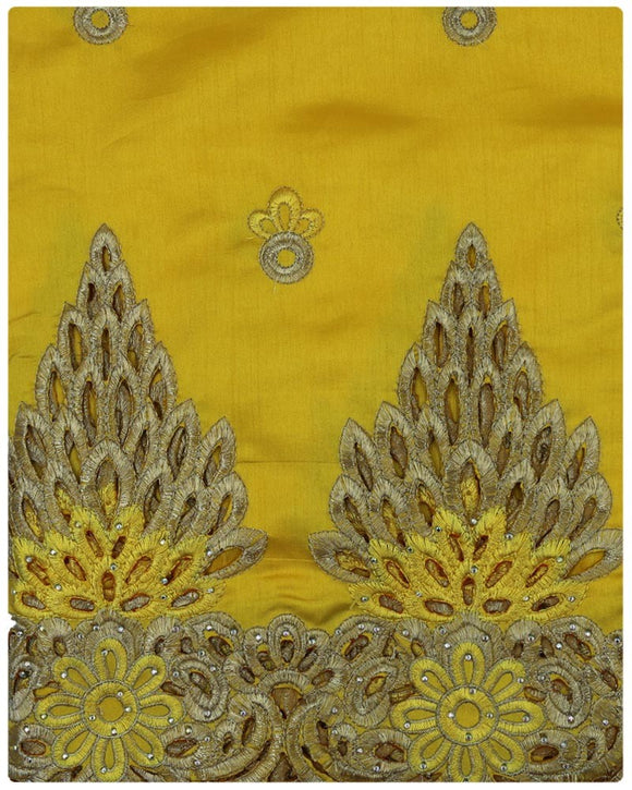 GEO002 - George Lace with Blouse - Yellow & Gold