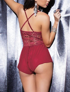 Lace Mesh Open Crotch Bodysuit