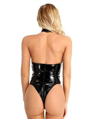 PU Leather Mesh Patchwork Bodysuit