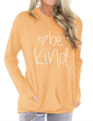 Be Kind Letters Print Long Sleeve Tops