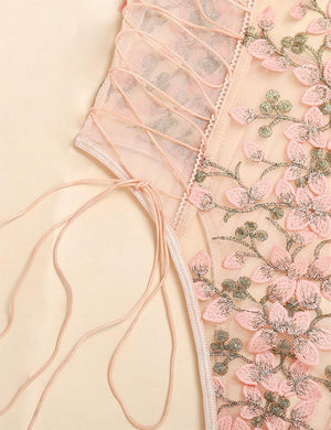 Floral Embroidery Side Lace Up Bodysuit