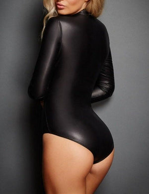 Motor Girl Front Zippered Tight Leather Bodysuit