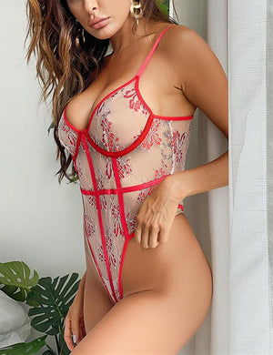 Embroidery Lace Mesh Patchwork Bodysuit
