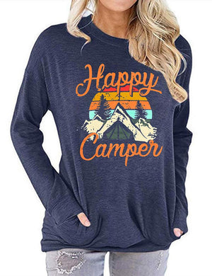 Happy Camper Letters Print Long Sleeve Tops