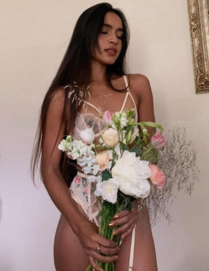 Rose  Embroidered Bralette & Underwear Lingerie Sets