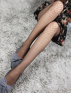 Lace Fishnet Thigh High Net Stockings