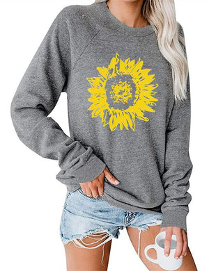 Sunflower Print Long Sleeve Sweatshirt
