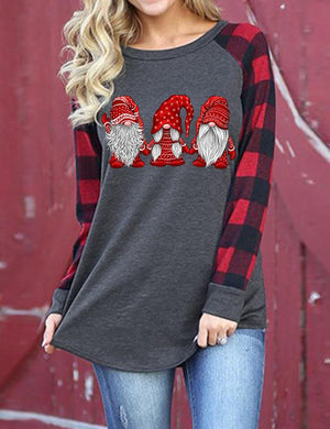Santa Claus Print Long Sleeve Shirts
