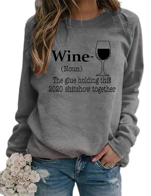 Wine Glass Letters Print Long Sleeve Tops
