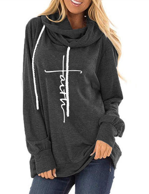 Faith Long Sleeve Drawstring Sweatshirt