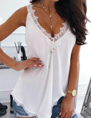 Solid Lace Splicing Tank without Necklace