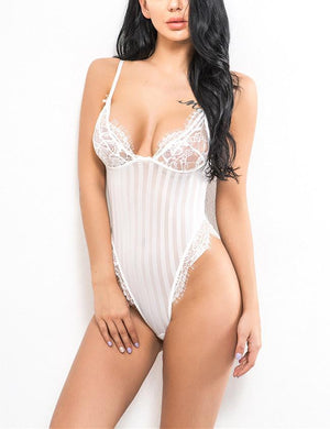 Lace Strips Splicing Bodysuit