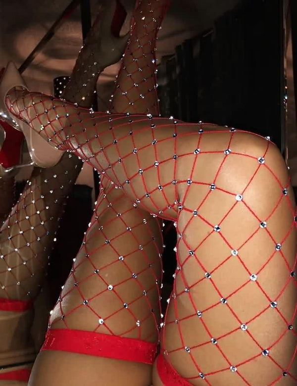 Glittering Rhinestone Fishnet Hollow Stockings
